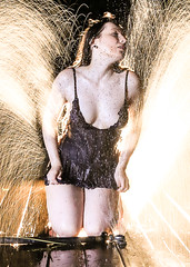 Diana - Liquid Fire (Mark Birkle) Tags: diana female woman model attractive sexy hot beautiful water spray fountain image photo picture outdoors night long exposure backlight front light flash wet cool best legs cling negligee liquid fire cute brown hair young art artsy unique summer