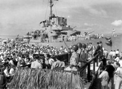 Close up view of the dedication at Canaveral Harbor - Cape Canaveral (State Library and Archives of Florida) Tags: florida capecanaveral ships boats military unitedstatesnavy