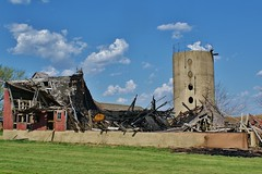 Barn For Sale - Slight Fire Damage (chumlee10) Tags: barn delapidated fallen burnt fire silo clouds bluesky il illinois