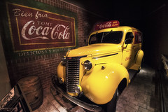 Coca-Cola Museum - Atlanta (Georgia) (Andrea Moscato) Tags: andreamoscato america statiuniti usa unitedstates us car automobile sign yellow red dark shadow ombre luci light interior interni history historic museum museo vivid insegna ancient coke