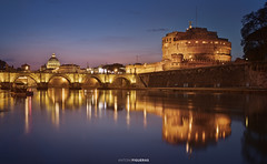 The Tiber (Antoni Figueras) Tags: roma rome river tiber santangelo castle castel reflections italia italy europe bluehour sunset dusk night bridge vatican stpeter basilica sonya7rii sony2470f4