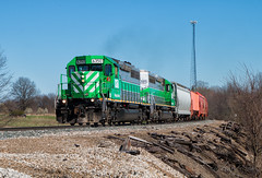 Silver and Green (Wheelnrail) Tags: emd sd402 locomotive wheeling lake erie wle rails green silver we orrville ohio oh train trains railroad rail road shortline regional freight manifest 6350 237
