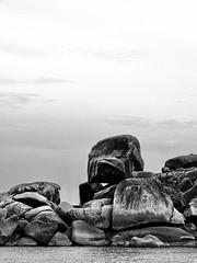 Shore rocks (markb120) Tags: thailandandaman similan island islands thailand sea ocean isle insula jackal rock crag scaur scar stone calculus scale concretion gum coast shore littoral water sky heaven palate blue roofofthemouth sphere cloud eddy sunset set decline sundown fall afterglow setting bw
