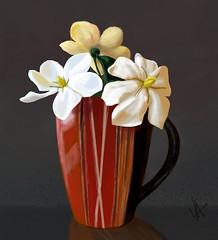 Gardenias warm-up doodle (Crickett-Grrrl) Tags: gardenias stilllife doodle sketch warmup drawing mug flowers floral illustration csp clipstudiopaint