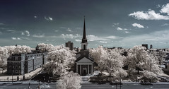 First Baptist Church Infrared (Notley Hawkins) Tags: lifepixel ir downtown columbia bocomo columbiamissouri notley notleyhawkins 10thavenue missouri httpwwwnotleyhawkinscom missouriphotography notleyhawkinsphotography boonecountymissouri architecture street downtowncolumbiamissouri clouds sky skyline city outdoor broadway 2018 may neutraldensity road building wideangle church firstbaptistchurch facade infrared