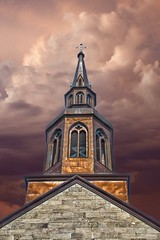Plattsburgh  New York - St Peter's Church - Historic (Onasill ~ Bill Badzo) Tags: plattsburh steeple st peters church landmark clintoncounty historic historical nrhp holly place plattsburgh catholic architecture gothic 1853 onasill lake placid saranac trip vacation holiday sky clouds processed treated hdr mild downtown style pinnacle canon eos rebel sl1 18250mm sigma macro