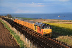 Colas along theAngus Coast. (60044) Tags: network rail colas railfreight class 67 67023 67027 ultrasonic test train trains railways unit usan angus scotland montrose boddin point derby rtc slateford yard 3z27