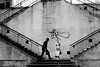 Greeting the girl (pascalcolin1) Tags: paris13 homme man fillette girl femme woman dessin graffiti paint escalier stairs mur wall photoderue streetview urbanarte noiretblanc blackandwhite photopascalcolin 50mm canon50mm canon