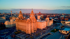 golden hour 2 (paul hitchmough photography 2) Tags: pierhead liverbirds thethreegraces liverpool rivermersey uk dronephotography aerialphotography dji mavicair architecture paulhitchmoughphotography goldenhour sun light