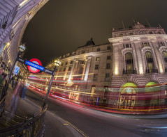 distorted reality (Wizard CG) Tags: piccadilly circus london long exposure england gb great britain uk united kingdom cold skyline outdoor architecture city night bus cityunderground station traffic epl7 urban motion road building railroad people sky