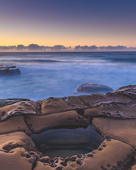 Dawn Seascape (Merrillie) Tags: daybreak sunrise northavoca nature water rocks centralcoast morning newsouthwales waves earlymorning nsw sea avocabeach ocean rocky landscape northavocabeach coastal waterscape sky seascape australia coast dawn outdoors