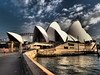 The Sydney Opera House (colour) 2 (Mariasme) Tags: architecture sydney water reflection clouds runner scapewithfigure