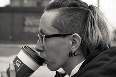 Candid shot of Nixy enjoying her coffee (Brian Copeland Photography) Tags: afternoon portrait candidshot canada gender northamerica hamilton woman portraitphotography ontario outdoor agfascale200emulation blackandwhite coffee rnifilmemulation bw bust daytime face female females headshot likeness midday noon people person portraiture portrayal profile women ca