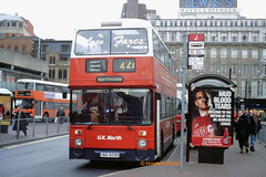 Low fares, high suspicions (over provenance) (SelmerOrSelnec) Tags: uknorth hadfield leyland atlantean northerncounties una829s reregistered ringer manchester piccadilybusstation gmt greatermanchestertransport gmpte greatermanchesterpte bus fvr273v