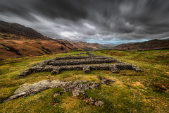 Hardknott Ruins (Pete Rowbottom, Wigan, UK) Tags: hardknottromanfort cumbria landscape longexposure birkerfell hardknottpass outdoors fell mountains dramatic sky clouds nisifilters peterowbottom nikond750 spring photography thelakedistrict england uk greatbritain moody movement wideangle nikon1424f28 remote barren ruins stonewalls eskdale springtime ravenglass hardknott