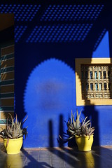 Jardin Majorelle, Marrakech, Morroco (mattk1979) Tags: marrakech morroco arab northafrica sun outdoors sky clouds city buildings old historic jardinmajorelle garden jacquesmajorelle botanical blue yellow house modern
