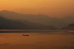 0751 Phewa Lake Sunset (Hrvoje Simich - gaZZda) Tags: outdoors landscape sunset lake water peace orange boat silhouette sky phewa pokhara nepal asia nikon nikond750 lensbabyvelvet8518 gazzda hrvojesimich