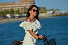 Anastasiia (denis.nayk) Tags: sea playa beach nice cute white dress bike bici