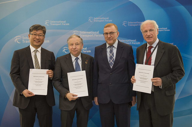 Young Tae Kim, Jean Todt, Mohamed Najib Boulif and José Luis Irigoyen posing with the signed Memorandom of Understanding