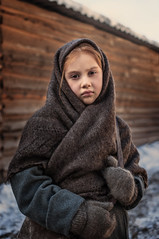 Polina (en_tatka) Tags: scarf knit hat warm clothing winter coat sweater red redhair finnougric girl child chilly childhood baby outdoor