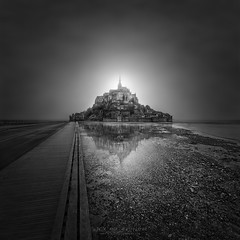 Enlightenment III – Mont Saint Michel, France (Julia-Anna Gospodarou) Tags: montsaintmichel normandy blackandwhite blackandwhitefineartphotography architecturalphotography landscapephotography reflections foggy juliaannagospodarou envisionography photographydrawing phtd tiltshiftlens medievalarchitecture
