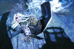 Moonlight Swim (LiangScorpio) Tags: sl secondlife fish swim water tableauvivant fallengodsinc fallenarchipelago ocean blues poem