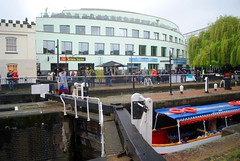 Hampstead Road Lock, Camden (zawtowers) Tags: jubilee greenway section 2 walk saturday 28th april 2018 cloudy damp littlevenicetocamdenlock regents canal amble stroll walking exploring london urban camden lock hampstead road barge heading west water iconic feature