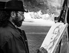 Please do not disturb my creater!, Jabbalpur India (senguptapulak) Tags: artist engrossed artwork black white free hand sketch jabbalpur sarswati ghat india streetportrait dasbuildpotraitinpotrait