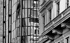 new&old (christikren) Tags: austria architecture blackwhite christikren facade glas linescurves monochrome noiretblanc panasonic perspective reflections sw vienna wien windows mirror grey reflet juridicum