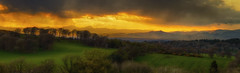 Sunset stormclouds (xDigital-Dreamsx) Tags: nature landscape countryside mountain highlands scotland scenery mood atmosphere weather golden sunset sundown sunshine layers clouds trees field fence rural grey green farmland naturephotography outdoors outside dusk