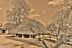 Rural vision (Mike Y. Gyver ( Back Home )) Tags: mygphotographiewixsitecommyg2017 myg outdoor sepia hdr history belgique belgium bokrijk rural housing 2015 tree sky clouds style windmill