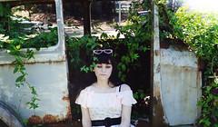 (roadkill rabbit) Tags: girl summer vines abandoned car weeds bayou woods lake country swamp