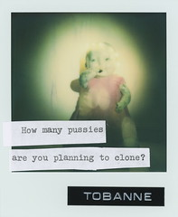 Instant message 7: How many pussies are you planning to clone? (tobannemessages) Tags: polaroid originals color film tobanne instant messages howmanypussiesareyouplanningtoclone creepy scary doll pink dress fairy party lights spotlight sticker slap graffiti urban street art text mixedmedia photography