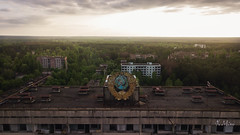 Sunset on the Soviet (jbmino) Tags: place russe ukraine ukrainian soviet decay abandoned creepy building drone travel radiation prypiat chernobyl