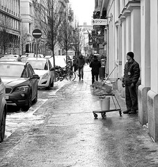 Weather Watcher (tcees) Tags: aranyjánosst budapest hungary pest streetphotography cars trolley supermarkettrolley street urban bw mono monochrome blackandwhite nikon d5200 1855mm building tree people men women winter cold freeze freezing snow snowing windows door bike bicycle cycle shovel bucket hat roadsign sidewalk pavement car road