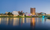 Adelaide at Sunset (Anthony Kernich Photo) Tags: adelaide adelaidecbd adelaideparklands cbd downtown water river torrens reflection reflect night dark sunset sundown bluehour longexposure olympusem10 olympus olympusomd microfourthirds lumix southaustralia sa australia symmetry blue dusk panorama panoramic