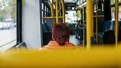 """Red Hair Dont Care"" (36D VIEW) Tags: bokeh mirrorless a7rii a7rm2 alpha street helios81h bus portrait"
