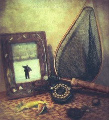 Fishing memories (Jocelyne Deneau) Tags: stilllife stilllifephotos naturesmortes still fishinggear flyfishing paintography