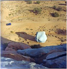 .space is losing place (Herr Benini) Tags: tafraout marocco morocco africa kiev88 analog film 6x6 120 bluerocks blaueberge