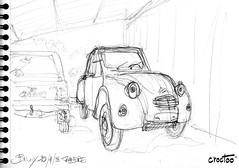 Au garage ! (Croctoo) Tags: croctoo croctoofr croquis mécanique mecanique autoancienne auto crayon