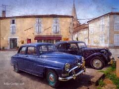 Vintage Cars - Saint Claud (Mike Cordey) Tags: citroen simca saintclaud boulangerie france vintage paint splash olympusem10 lumix1232mm 24mm