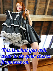 This is what you will wear to do your chores from now on (sissy peter) Tags: sissy sissymaid sissification feminization maid