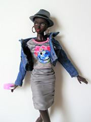 Nadja has a spring in her step (Deejay Bafaroy) Tags: fr fashion royalty nadja rhymes doll puppe integrity toys nuface urbanoutfitting porträt portrait hat hut denim jeans earrings ohrringe skirt rock jupe barbie black