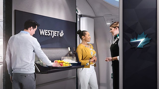 West Jet - premium economy communal area