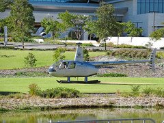 21 May 2018 - Corsaire Aviation's Robinson R44 II ferry/sight-seeing helicopter [VH-CLS] just after landing at Burswood Park, Perth, Western Australia (aussiejeff) Tags: corsaire aviation robinson r44ii helicopter heli chopper vhcls burswood park perth westernaustralia rotary crowntowers aussiejeff jeffc canon powershot sx620 zoom australia