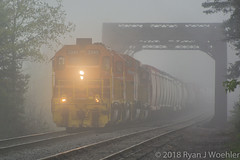 Foggy Salamanca Morning (The Master Blaster) Tags: buffalo pittsburgh bp fog foggy train railroad bridge salamanca ny southbound new york locomotive sd402