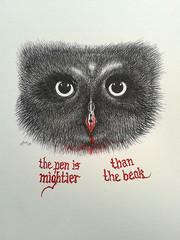 The pen is mightier! (Mattijsje) Tags: drawing tekening sketch pen ink bw draw owl uil saying gezegde thepenismightier beak snavel blood myart mijnkunst cartoon strip kroontjespen eyes hypnotic wise