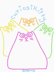 CURIOSIKITTY (sherrywestart) Tags: curiosity kitty cat sherry sherrywestart doodle apple pencil ipad pro color sketch children book character pink green orange yellow blue art drawing