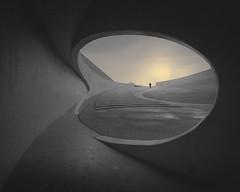 De Brug II (Vesa Pihanurmi) Tags: amphitheatre bunker stairs path figure character belgium brug riemst architecture minimal