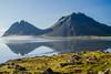 Peaks (^Diana^) Tags: 5042a mountains volcano reflection iceland reykjavik arctic sea water nature green lava moss lichen driving morning landscape fjord northwesticeland northerniceland mist sun